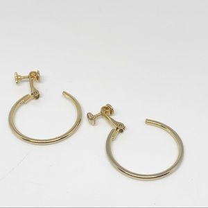 Vintage Gold tone Hoop Clip On Earrings Signed